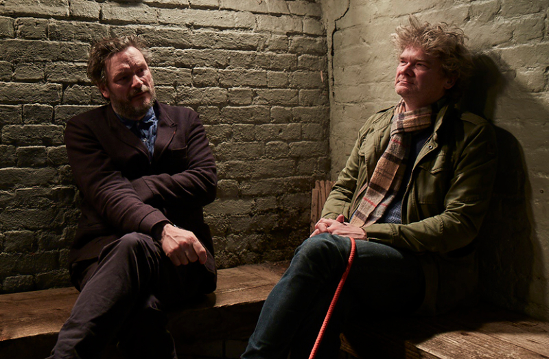 Julian with co-writer Simon Farnaby, a pub in north London